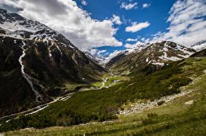 Фотографии Швейцария Горы Альпы Облачно Graubünden Природа