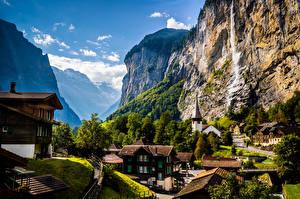 Картинка Швейцария Гора Здания Альп Скала Eiger Природа