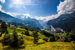 Фотография Швейцария Гора Пейзаж Альпы Облако Скала Eiger Девушки