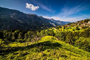 Фото Швейцария Гора Пейзаж Небо Альпы Graubünden Природа