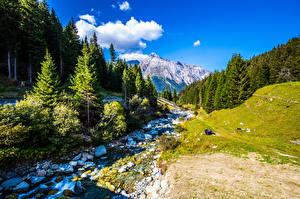 Фото Швейцария Гора Камень Альп Дерево Ручей Природа