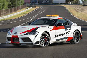 Обои Toyota Тюнинг Белая 2019 GR Supra Safety Car Автомобили