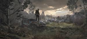 Картинки Грузовики STALKER 2 Чернобыль Траве компьютерная игра