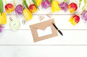 Фотографии Тюльпан Конверт Доски Шаблон поздравительной открытки Шариковая ручка цветок