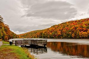 Картинка Америка Осенние Реки Леса Пристань Norton, Virginia Природа