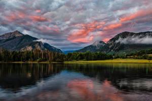 Обои Штаты Горы Озеро Лес Небо Облачно Lake Dillon