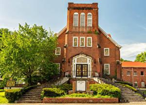 Картинка Америка Храм Церковь Лестницы First Presbyterian Church Harlan, Kentucky