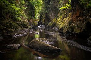 Картинки Великобритания Камни Река Уэльс Утес Мхом Conwy Природа