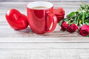 Обои День всех влюблённых Розы Сердце Кружка Шаблон поздравительной открытки Еда