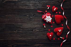 Фотографии День святого Валентина Доски Шаблон поздравительной открытки Сердечко Лента