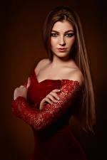 Картинки Viacheslav Krivonos Платье Руки Взгляд Julia молодая женщина