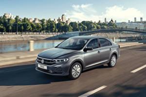 Обои для рабочего стола Volkswagen Серая Скорость 2020 Polo авто