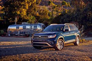 Картинка Volkswagen Синих Кроссовер Металлик 2021 Atlas V6 авто
