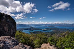 Фотографии Аргентина Горы Озеро Небо Облако Скала Patagonia, Nahuel Huapi Lake Природа