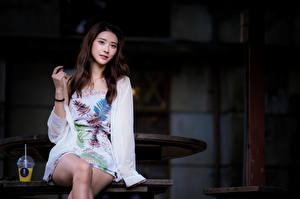 Картинки Азиатка Сидящие Ног Взгляд Платья Шатенки молодая женщина
