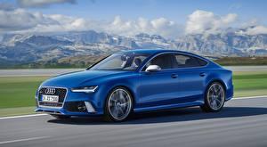 Обои для рабочего стола Audi Синий Скорость Сбоку Размытый фон RS7, Sportback performance, 2015 Автомобили