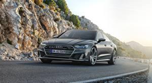 Фотографии Audi Спереди Серый Асфальт S7, Sportback, TDI, 2019 Автомобили