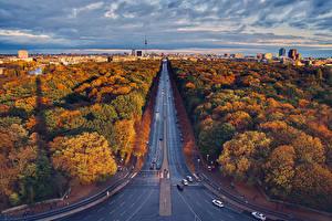 Картинки Осень Германия Берлин Дома Дороги Дерево Сверху Природа Города