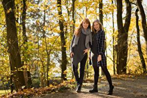 Картинки Осень Двое Улыбка Дерево Stefanie, Laura молодые женщины