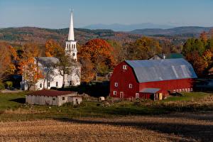 Фотография Осень США Дома Храмы Церковь Peacham, Vermont Города Природа