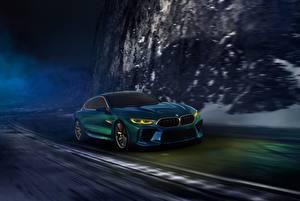 Картинка БМВ Купе Движение 2018 M8 Gran Coupe Concept Автомобили