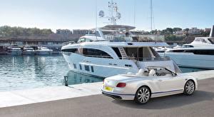 Обои Бентли Яхта Пристань Белые Continental GT, Convertible Galene Edition, 2017
