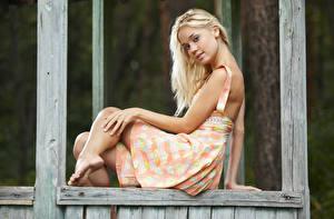 Фотография Блондинка Платье Смотрят Рука Ног Поза девушка