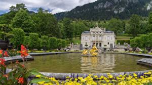 Фото Замок Германия Скульптуры Фонтаны Бавария Linderhof