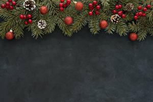 Обои Рождество Ветки Шар Шишка Шаблон поздравительной открытки