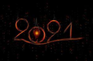 Обои Новый год Лампочка Черный фон 2021
