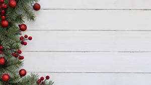 Картинка Рождество Доски Ветки Шарики Шаблон поздравительной открытки
