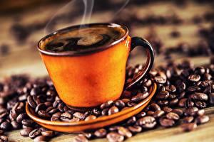 Картинки Кофе Чашка Паром Зерна