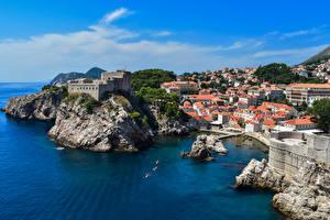 Картинки Хорватия Дубровник Море Берег Здания Скала город