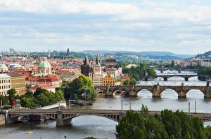 Фото Чехия Прага Реки Мосты Здания Города