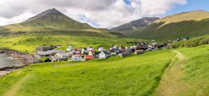 Обои Дания Горы Поля Здания Облака Gjogv, Faroe Islands Природа