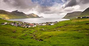 Обои Дания Гора Здания Облачно Faroe Islands, Eysturoy
