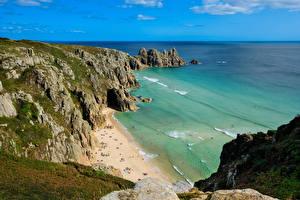 Картинки Англия Берег Море Скалы Cornwall Природа