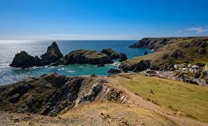 Фотография Англия Берег Море Скала Cornwall Природа