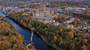 Фотографии Англия Дома Речка Осень Сверху Durham Города