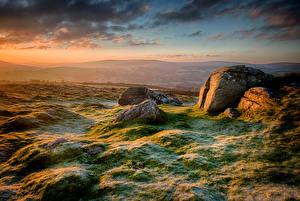 Фотография Англия Утро Камни Иней Холмы Облако Chagford Природа