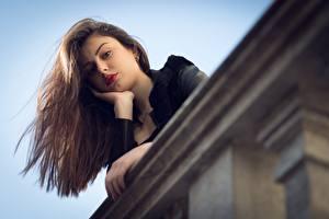 Обои Ester Merja Шатенки Взгляд Рука Luigi Malanetto молодая женщина