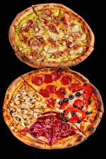 Обои Быстрое питание Пицца Колбаса Грибы Ветчина На черном фоне Два Продукты питания