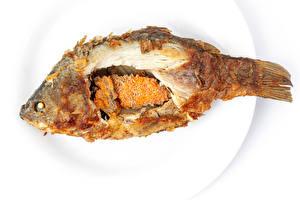 Фотографии Рыба Тарелке Жареные Еда