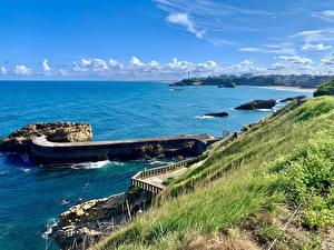 Фотография Франция Берег Пирсы Залива Biarritz Природа