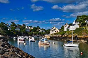 Фото Франция Речка Дома Катера Brittany город