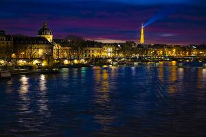 Картинка Франция Реки Париж В ночи Башни Seine Города