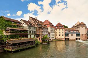 Обои Франция Страсбург Здания Облака Города