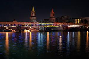 Обои Германия Берлин Реки Мост Дома Ночь город