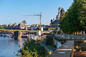 Обои Германия Дрезден Дома Реки Мосты Пирсы Города