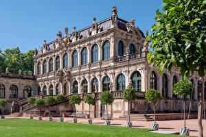 Картинка Германия Дрезден Здания Скульптуры Музеи Дизайна Zwinger